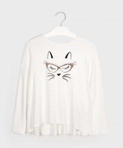 Camiseta m/l viscosa gatos Mayoral