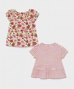 Set 2 camisetas manga corta flores baby niña Mayoral