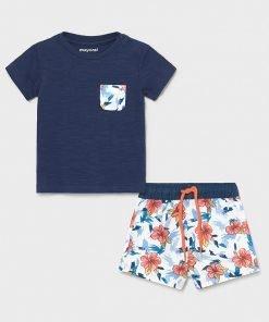 Conjunto camiseta y bañador de flores niño Mayoral