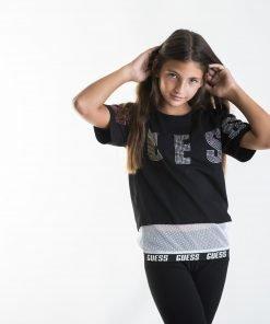 Camiseta manga corta negra niña rejilla Guess