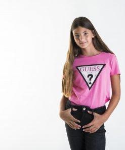 Camiseta manga corta niña rosa Guess