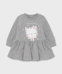 Vestido felpa gris bebe niña Mayoral