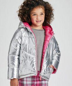 Abrigo reversible plata niña Mayoral