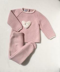 Conjunto polaina rosa corazón Pangasa