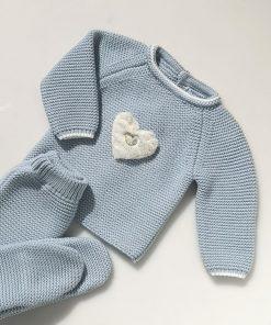 Conjunto polaina azul corazón Pangasa