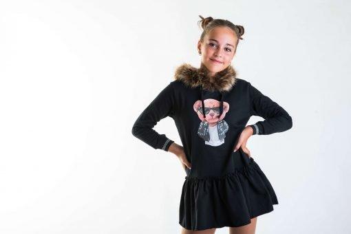 Vestido felpa oso niña Mon petit bonbon