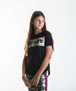 Camiseta niña negra militar Guess