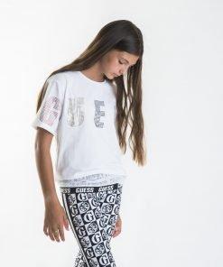 Camiseta manga corta blanca niña rejilla Guess